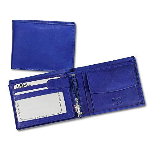 Unbekannt Geldbörse Leder blau - Börse für Damen und Herren Münzbörse Portemonnaie Echtleder Rindsleder D1OPR101B