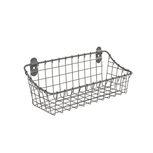 Spectrum Diversified Vintage Cabinet & Wall Mounted, Rustic Farmhouse Wall Décor & Organization, Small Wire Basket, Decorative Storage, Industrial Gray