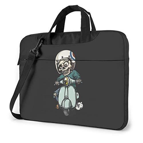 AOOEDM Laptop-Tasche Computertasche Ärmelabdeckung, Zombie On Scooter Multifunktionale wasserdichte Reisetablett Schulter Aktentasche Stoßdichte Tragetasche in 13 14 15,6 Zoll