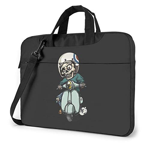 AOOEDM Laptop-Tasche Computertasche Ärmelabdeckung, Zombie On Scooter Multifunktionale wasserdichte Reisetablett Schulter Aktentasche Stoßdichte Tragetasche in 13 14 15,6 Zoll