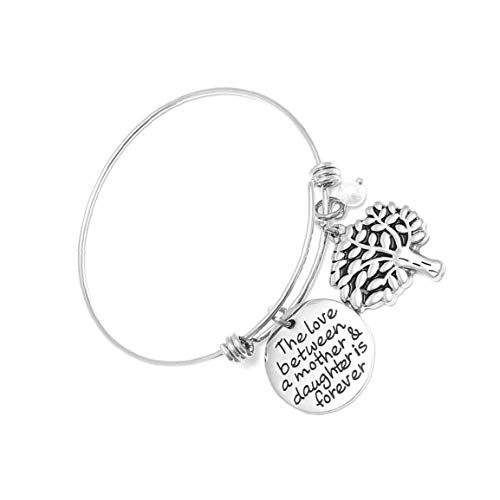 NaisiCore La Vida de Titanio de Acero Pulsera de la Pulsera de árbol con la Ronda de Creatividad de Etiqueta de Pulsera de Letras para el Presente día de San Valentín Mujeres Niñas