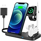 Yemo Wireless Charger, 4in1 Wireless Charging Station for Apple Products Compatible with Apple Watch Series Se 6 5 4 3 2 1, AirPods Pro and Pencil, Charging Dock for iPhone 12,11,11 Pro,Xr,Xs Max