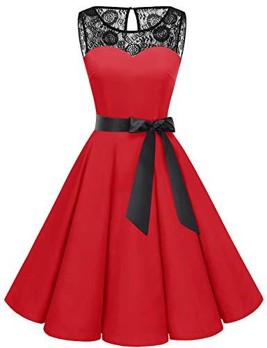 bbonlinedress 1950er Ärmellos Vintage Retro Spitzenkleid Rundhals Abendkleid Red XS