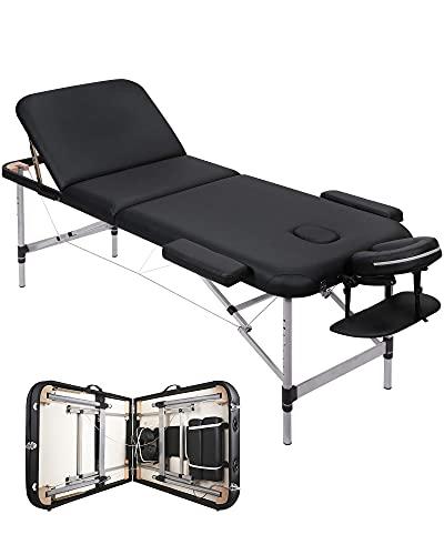 Massageliege Klappbar Kosmetikliege Massagetisch Behandlungsliege mit 3 Zonen Ergonomischer Kopfstütze Höhenverstellbaren Aluminiumfüßen Tragetasche Tragbar Einfache Installation Schwarz