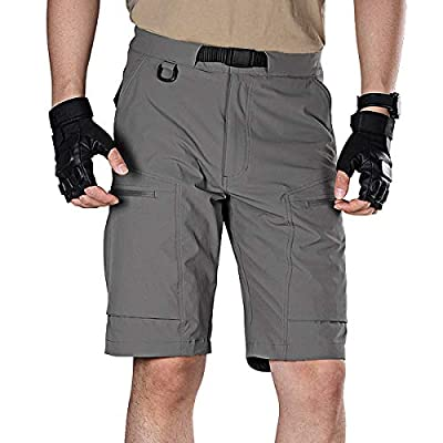FREE SOLDIER Men's Lightweight Breathable Quick Dry Tactical Shorts Hiking Cargo Shorts Nylon Spandex (Gray 38W x 12L)