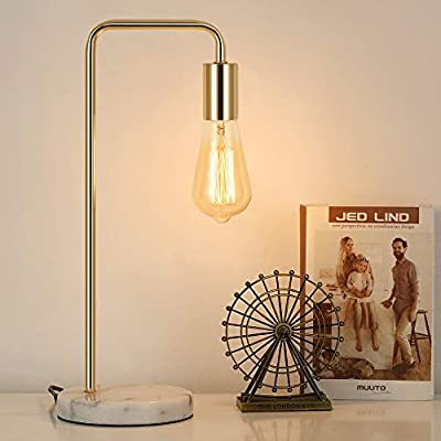 HAITRAL Industrial Table Lamp - Modern Bedside Desk, Stylish Nightstand Lamp for Bedroom, Office, College Dorm with White Marble Base and Metal Frame - Gold (Without Bulbs)