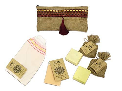 Perfecte Bad Cadeauset - Traditionele 5-delige bad- en lichaamsset bestaat uit Ezelinnenmelk Zeep, Aloë Vera Zeep, lichaamspeeling handschoen, gezichts peeling zijden handschoen en reistas