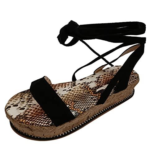 Sandales Femme été Compensées,Plateforme Sandale à lanières Motif De Bout Ouvert Creux Grande Taille Chaussons Plat Elegant Mode Nu-Pieds de Plage Pantoufles Chaussures Pas Cher A La