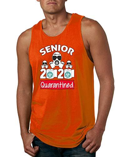 Wild Bobby Seniors Class of 2020 Quarantined Face Hazard Social Distance Gift   Mens Pop Culture Graphic Tank Top, Orange, Medium