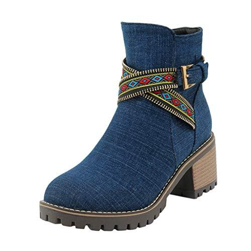 Otoño e Invierno Moda Ocio Denim Botines Mujer Tobillo Botas Botas de tacón bajo Señoras Zapatillas Casual Botas…