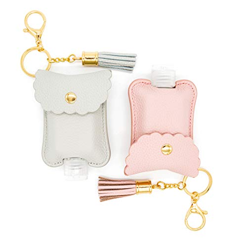Kaffrey 2 oz Pink & Grey Genuine Leather Hand Sanitizer Holder; Travel Size Key Chains; Keychain Accessories For Purse, Backpack, Diaper Bag; Refillable Plastic Containers For Lotion, Shampoo, Soaps