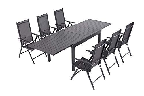 Laxllent - Mesa de jardín extensible (135/270 cm, aluminio + 6 sillas de textileno para terraza y jardín, color negro