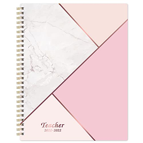 """Teacher Planner 2021-2022 - Academic Planner from July 2021 - June 2022, 8"""" x 10"""", Lesson Plan Book, Weekly & Monthly Lesson Planner, Thick Paper + Graph Paper + Special Dates + Holidays - Pink Marble"""