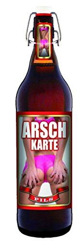 Arsch-Karte - 1 Liter Flasche Bier mit Bügelverschluss (keine Geschenkverpackung)