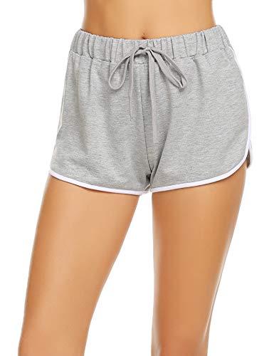 Avidlove Damen Kurze Hose Shorts Schlafanzughose Schlafhose Yoga Sporthose Running Gym Beiläufige Elastische Shorts, Grau, Gr. S(34-36)