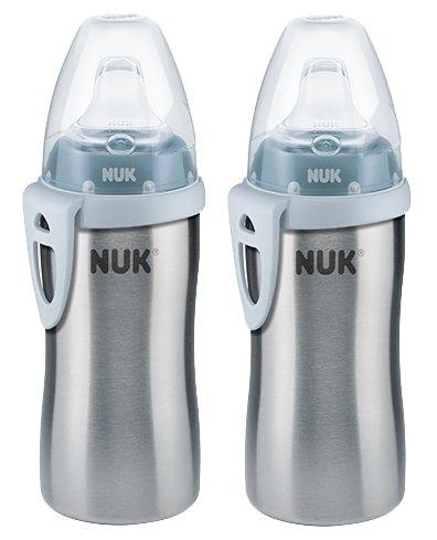 NUK 10255353 Active Cup, Flaschenkörper aus hochwertigem Edelstahl, 215 ml Inhalt, blau, 2er Pack (2 Flaschen)