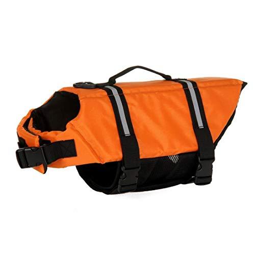 AMOYER Hundeschwimmwesten Reflective Adjustable Erhalter Weste Mit Erhöhter Tragvermögen Rettungsgriff Für Schwimmen Bootfahren Canoeing