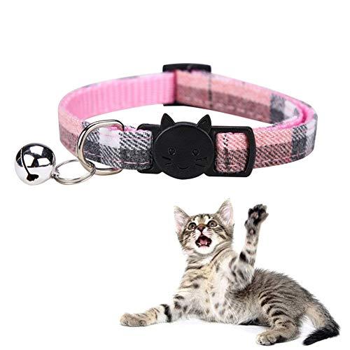Moligin Collar De Pulgas para Los Gatos Rastreador del Perrito De Collares De Perro con Bell Tela Escocesa Ajustable De Liberación Rápida De Tracción Rosa