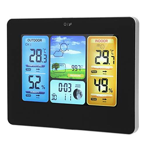 Sora Reloj meteorológico Digital, estación meteorológica inalámbrica, Reloj electrónico de Temperatura y Humedad Modos de función múltiple para Uso en el hogar/Oficina en Interiores y