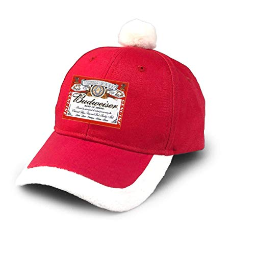 GGdjst Weihnachtsmützen, Budweiser Beer Logo Christmas Hats Red Santa Baseball Cap for Kids Adult Families Celebrate New Year Party