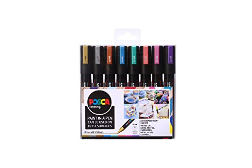 POSCA PC-5M Metallic Paint in a Pen in un set - Marcatori a tempera a base d'acqua con punta conica da 2,5 mm, 8 colori