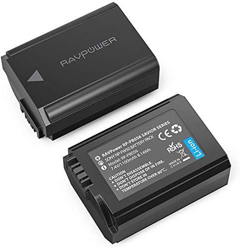 RAVPower NP FW50 2 Pack 1100mAh Kamera Akku für Sony Alpha7 / 7ii / 6500/6400 / 6300/6000 / 5100 NEX-7 NEX-F3 NEX-3 NEX-3N NEX-C3 Nex-5 NEX-5N NEX-5T SLT A55V A33 A35 A37 usw.