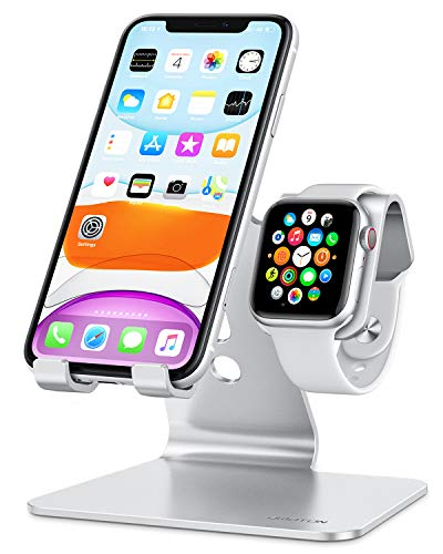 OMOTON 2 in 1 Supporto per Apple Watch, Stand Tavolo per iPhone e iWatch, Dock per Apple Watch SE/6/5/4/3/2/1(38 mm/40 mm/42 mm/44 mm), Porta Compatibile con iPhone 12, SE 2020, 11 PRO, XS Max,Argento