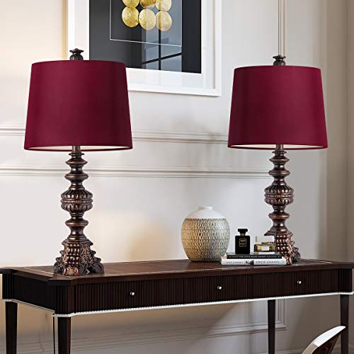 Oneach Melinda Traditional Table Lamps Set of 2 Vintage Desk Lamp for Living Room Bedroom Study Oil Rubbed Bronze