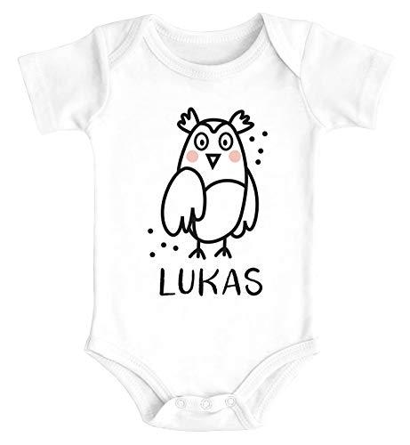 Preisvergleich Produktbild SpecialMe® Baby Body mit Namen Bedrucken Lassen Eule lustige Tiere Strichzeichung Kurzarm Bio Baumwolle Eule weiß 12-18 Monate