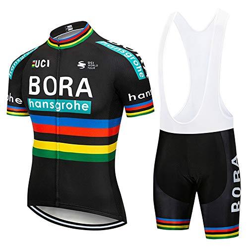 STEPANZU Men's Cycling Jersey Set Breathable Short Sleeve Bike Jersey with 3D Gel Pad Bib Shorts Mountain Road Bike Team Clothing