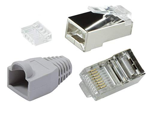 odedo® 10er Pack Crimpstecker grau CAT6 Metall geschirmt mit Einfädelhilfe und Knickschutz, Crimp Stecker Netzwerk Lankabel Netzwerkstecker RJ45 Kat 6, Modular Plug Shielded Connector with Insert