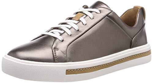 Clarks Damen Un Maui Lace Sneaker, Silber (Pebble Metalic), 41.5 EU