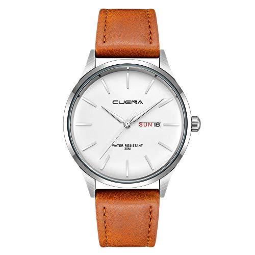 Herrenuhren Analoge Quarz-Armbanduhr Herren wasserdichte Markenmode Schwarz Herrenuhr Lederarmband Datum Armbanduhr,Braun_Weiß