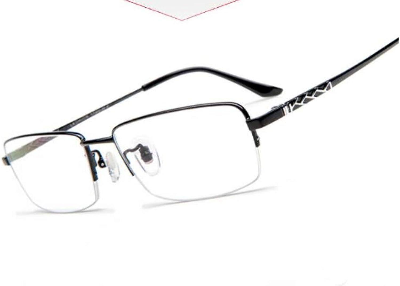 Myopia Glasses Men's Tide Pure Titanium Ultra-Light Eye Frame Half Frame with Degree Radiation bluee Light Glasses Frame, -2.00