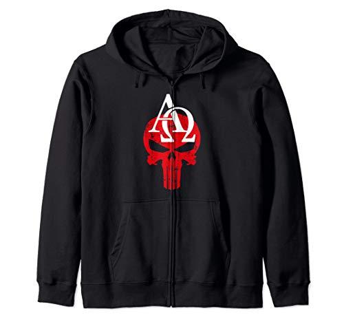 Alpha Omega Plumbing RED Skull White AO Zip Hoodie