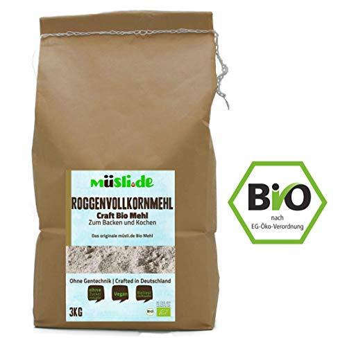 müsli.de BIO Roggenvollkornmehl - 3kg, zum Backen (z.B. Brot, Brötchen, Gebäck und Kuchen) und Kochen geeignet.