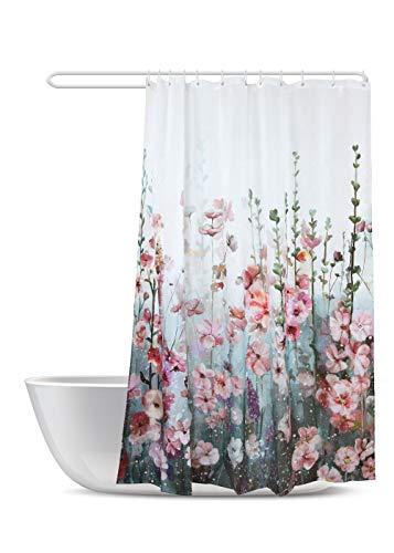 Cortina de ducha Sumgir con flores, cuadrada, colorida, moderna y decorativa, diseño floral, color rosa, multicolor, poliéster impermeable, con 12 anillos de cortina blancos, 180 x 180 cm