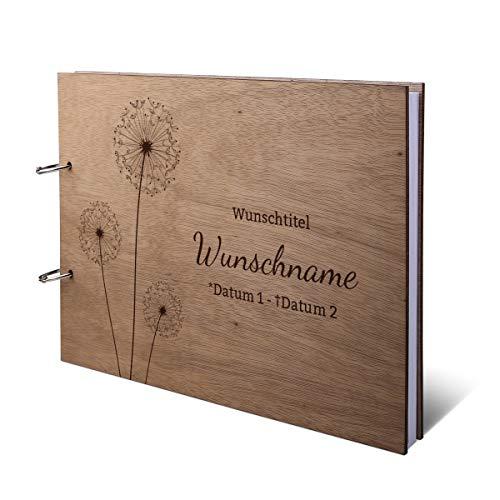 Kondolenzbuch Okoume Holzcover mit individueller Gravur inkl. 144 Naturpapier Seiten DIN A4 quer 302 x 215 mm - Pusteblume
