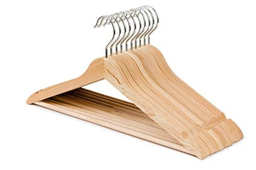 Grucce in legno, 20 pezzi, con barra per pantaloni e gonna, rotazione a 360 gradi, per camicie, abiti, vestiti, colore naturale