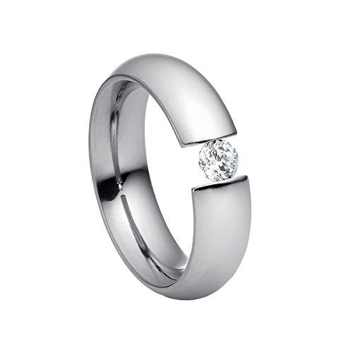 Heideman Ring Damen Intensio aus Edelstahl Silber farbend poliert Damenring für Frauen mit Swarovski Stein Zirkonia Weiss im Brillant Schliff 4mm