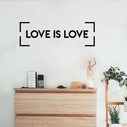 Vinyl Wall Art Decal - Love is Love - 10' x 31' - Trendy Minimal LGBT Quote Sticker for Home Couples Bedroom Living Room Equality Gay Lesbian Pride Event Decor (Black)