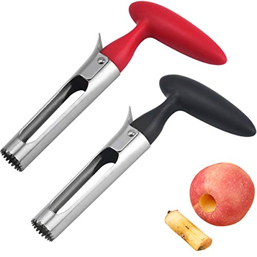 Apple Corer, Premium Apple Corer Remover with Food Grade Stainless Steel Sharp Serrated Blade,for Apple Removing Cores & Pits (Black+Red)