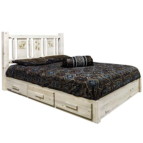 Affordable Montana Woodworks Bear Design Laser Engraved Platform Bed in Ready to Finish (King: 91 in...