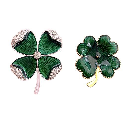 XGALBLA 2 Pcs Rhinestone Green Shamrock Four Leaf Clover Brooch Pin