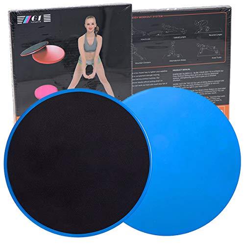 Disque Glisseur Double Face Core Silders, BESLIME 2 pièces Disque de Fitness Abdominaux Gliding Discs avec Pochette de Rangement Utilisation sur Tapis ou Sols Durs (Gris)