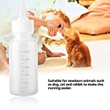 Luckycao Cat Babyflasche, 50ml Neugeborenes Tier Pflege-Set Milch-Fütterung-Flasche mit Ersatznippel for Tierbedarf Hund Katze Kätzchen