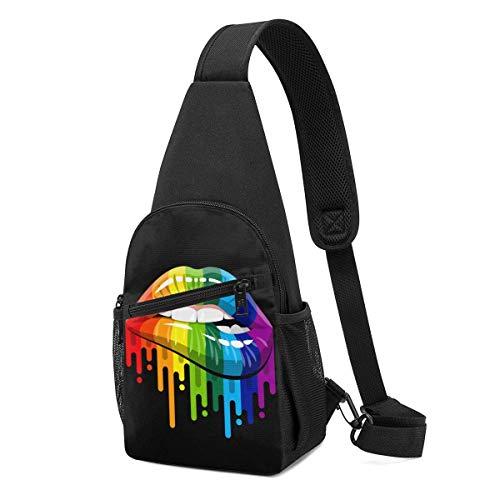 DJNGN Rainbow Lip Sling Mochila Senderismo Mochila Bandolera Bandolera