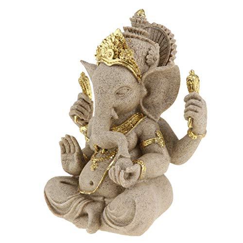 SM SunniMix Sandstein Ganesha Buddha Elefanten Statue Handgefertigte Figur Skulptur Geschenk