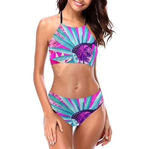 RTBB - Conjunto de bikini para mujer con impresión 3D, diseño de palmera y piña, 2 piezas Negro Negro ( L