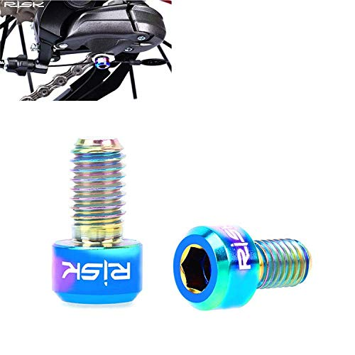 Titanium Alloy Fixed Bolts Screws for Bike Bicycle Front Rear Derailleur Cable M5x9mm (Multi-Color)